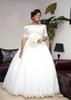 2018 Ball Gown Wedding Dresses Vintage African Off Shoulder Short Sleeves Illusion Tulle Beads Crystal Button Back Long Formal Bridal Gowns