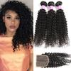 8A Brazilian Virgin Kinky Curly Human Hair Bundles With Closure Unprocessed Deep Water Wave Bundles With Lace Closure Remy Human Hair Weave