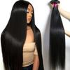 Brazilian Virgin Hair Long Inches Straight 28 30 32 34 36 40 Unprocessed Straight Human Hair Bundles Peruvian Malaysian Remy Hair Extensions