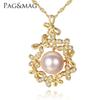 PAG&MAG Luxury Flowers 925 Silver Chain Pendant Necklace for Women 9-9.5mm Freshwater Pearl Pendant Wedding Jewelry for Bridals