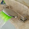 Double Square Handle 3pcs Basin Faucet Deck Mount Brushed Nickel Bathroom Mixer Taps with LED Light