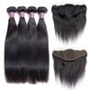 Brazilian Virgin Straight Human Hair Weave Bundles With Frontal Unprocessed Virgin Straight Hair Bundles With Frontal Remy Hair Extensions