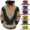Spandex Bazin Riche Traditional Print Pullover African Dashiki Hoodie 3D Pattern Red Yellow Purple Black Orange Blue Green