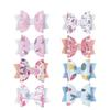 3'' Glitter Leather Hair Bows Lovely Cartoon Print Hair Clips For Princess Girls Handmade Hairgrips Hair Accessories