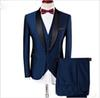 Latest design Custom made Handsome wedding suits Slim Fit Groom Tuxedos formal wears Shawl Lapel Groomsman suits (Jacket+Pants+vest)