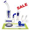 REANICE BOX Newest Glass Recycler 18.8mm Jonit Blue + Silicone mat Silicone wax Metal tools spoon glass double recycler bong Cheap Bong