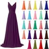 New Long Chiffon Bridesmaid Dress 2018 Cheap A Line Pleated Bridesmaid Dresses Stock Size 2 4 6 8 10 12 14 16