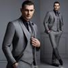 New Grey 3 Piece Mens Suit Groom Suit Cheap Formal Man Suits for Wedding Best Men Slim Fit Groom Tuxedos for Man(Jacket+Vest+Pants)