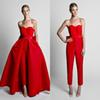 2018 Fashion Jumpsuit Evening Dresses With Convertible Skirt Satin Bow Back Sweetheart Strapless Satin Waistband Weddings Guest Dresses Prom