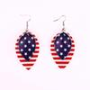 American Flag Pu Leather Earrings Red and White Stripes and Blue Stars USA Flag Leaves Teardrop and Round Shape Leather Statement Earrings