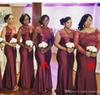 2018 Summer Spring Bridesmaid Dress Burgundy African Nigerian Country Garden Wedding Party Guest Maid of Honor Gown Plus Size Custom Made