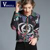 Casual Fashion Women's Clothing Thin Tops 2018 Autumn Flower Print ladies Tees Turn-down Collar long sleeves women T-shirts
