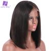 Luffy 150% Density Short Bob Lace Front Wigs Deep Parting Straight Peruvian Human Hair Non-remy Natural Color For Black Women