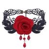 rose lace chokers Gothic retro necklace Hollow out Jewelry Pendant necklace two colors black red freeshipping