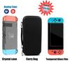 5 in 1 Nintend Switch NS Console Carrying Storage Bag + Crystal Case +Tempered Glass Screen Protector + Analog Caps for Joy-Con