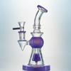 Purple Glass Bong With Short Nect Mouthpiece Green Heady Glass Water Pipes Showerhead Perc Dab Rig Pyramid Design Oil Rig With 14mm Bowl