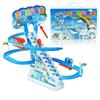 Children Electric Penguins Slide plastic track Racing Tunnel Scale DIY Assemble Model Kids Toys Gift Brinquedos