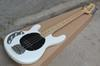 Left Handed White Music Man Ernie Ball Sting Ray 4 String Electric Bass Guitar with active pickups 9V battery