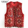 TXJRH Vintage Velvet Red Floral Print Embroidery Sequins Patchwork Wave Hem Fashion Vest Velour Waistcoat Sleeveless Coat Tops