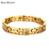 KISS MANDY Fashion Gold Color Ceramic Bracelets Women Jewelry Stainless Steel New Arrival KB451