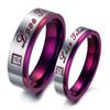1 Pcs Stainless Steel Purple Engagement Rings For Lover Couples - Romantic Love Couples Promise Wedding Ring Anniversary Jewlery
