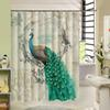 Colorfulful peacock Retro Cartoon Custom 3d Shower Curtain Fabric Bath Curtain Waterproof