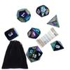 7pcs Rainbow Metal Dice-DnD Dice Set with Pouch for Role Playing Games D4 D6 D8 D10 D12 D20