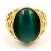 Vintage Men Boy Oval Big Cat's eye stone Green Black Stones Ring Stainless Steel Jewelry Mens Women Gold Rings Wholesale