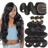 10A Brazilian Virgin Hair Body Wave 3 Bundles With Three Part Lace Closure Natural Black Human Hair Extensions Brazilian Body Wave Bundles