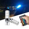 1SET T10 W5W led rgb SMD 6LED 5050 Remote Control RGB Car Tail plate Light Side Clearance Lights Car Reading Wedge Lights