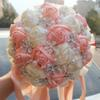 Coral Pink Ivory Champagne Satin Rose Festival Stitch Bouquets Custom Ribbon Wedding Bridal Bouquet Flowers Color Option W224A-6