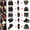 Brazilian Virgin Hair 4 Bundles with Lace Frontal Closure Straight Human Hair Kinky Curly Body Deep Wave Peruvian Hair Bundles with Closure
