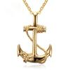 Men Stainless Steel Necklace Gold Plated Anchor Pendant Stainless Steel Jewelry 50cm Length Chain Necklace For Men Four Colors Available