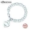 DORAPANG 100% 925 Sterling Silver 1:1 Genuine Charm Classic Logo Heart Shaped Chain Bracelet Snake Fashion Women Jewelry Gift