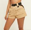 Chic Streetwear Women's High Waist Cargo Shorts with Belt.Safari Style Ladies Multi-pocket Short Pants Free shipping