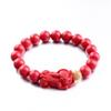 Lucky red cinnabar beaded bracelet brave troops gold beads bracelets