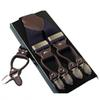 Classic Style Leather Alloy 6 Clips male vintage Casual Suspenders Commercial