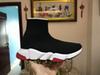 Zapato calcetín negro suela roja