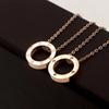 316L Titanium Steel Rose Gold Screw Circle Pendant Necklaces for Women Silver 18K Gold Round Necklace with diamond Choker fashion Jewelry