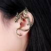 Gothic Punk Dragon Earrings Bronze Silver Black Ear Cuffs Clip On Ear Fake Cartilage Wrap Cuff Earring for Women Unisex Left Earrings