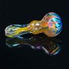 Colorful Bright Stripe Glass Pipes Nice smoking Pipes 9.5cm hand pipe leaves shape spoon pipes