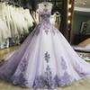 Lavender Ball Gown Quinceanera Dresses Illusion Bodice Sheer Shoulders Appliques Tulle Sequins Prom Dresses Elegant Sweet 16 Dresses