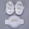 2016 New Style Rhinestone Imperial Crown Newborn Baby Shoes Headband Set ,White Baptism Baby Girl Shoes ,Toddler First Walkers
