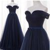 Navy Blue Real Photos A-Line Off-Shoulder Tulle Pleat Evening Gowns Satin Sashes With Bow Sexy Back Floor-Length Evening Dress