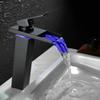 "10.6"" Black Water Powered LED Faucet Bathroom Basin Faucet Brass Mixer Tap Waterfall Faucets Hot Cold Crane Basin Tap"