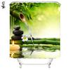 Bamboo Pattern Polyester Bathroom Waterproof Shower Curtains Zen Garden Theme Decoration For Home Shower Curtain Natural