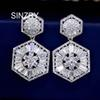 SINZRY party jewelry white cubic zirconia geometry dangle earrings brilliant lady wedding earrings jewelry accessory gift C18111901