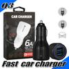 Dual USB Fast Charging Car Charger for Universal Cellphones 5V 6A Car Charger Adapter Smart Port Charger for iPhone X Galaxy S9 Plus in Box