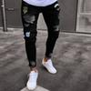 men hole jeans Jeans men's trend fashion knee hole small ankle pants European explosions denim trousers