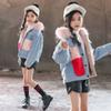 fashion warm thick girls denim jacket winter fleece jacket for little teenage girls woolen pockets jeans girls coats and jackets